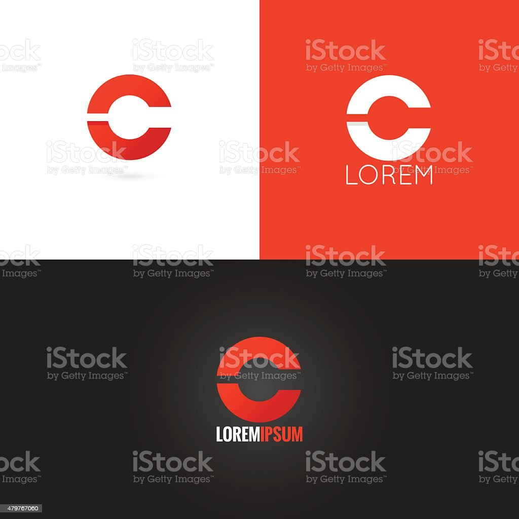 letter C logo design icon set background vector art illustration