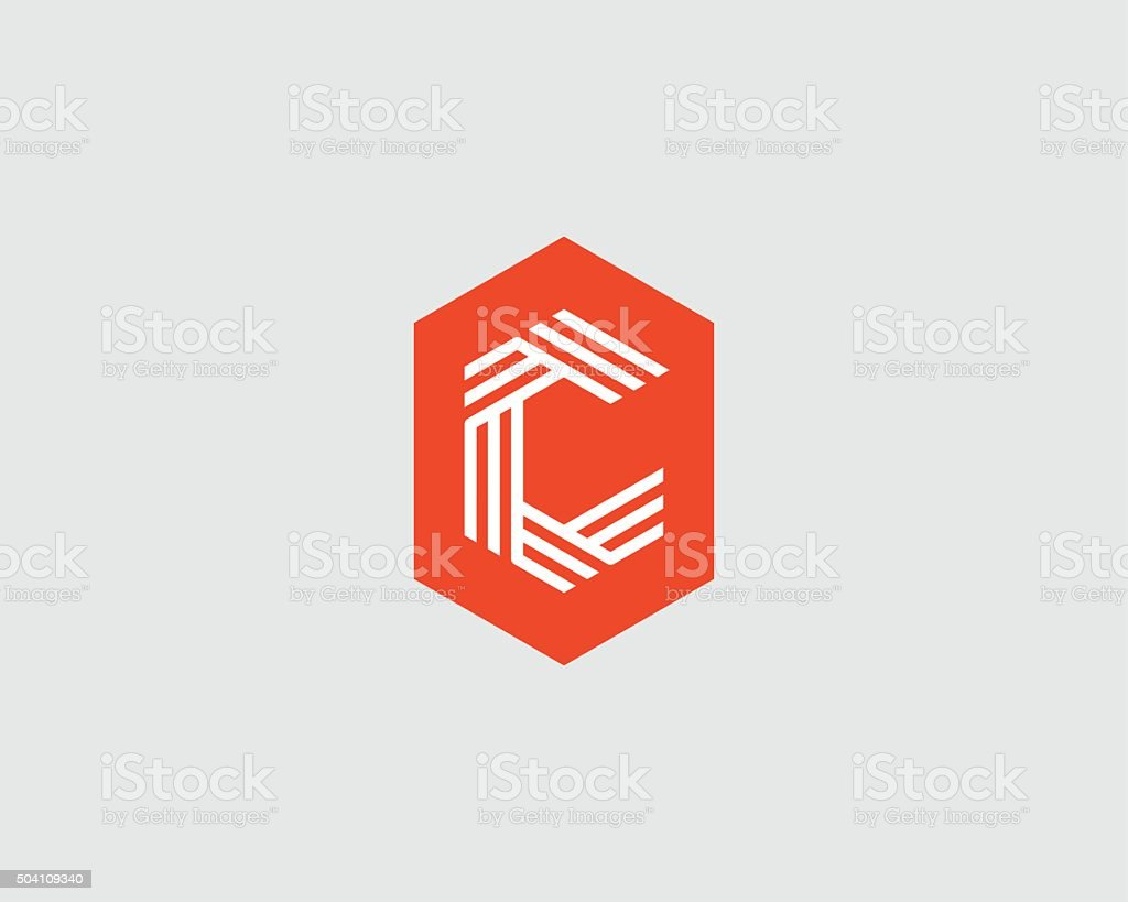 Letter C logo icon vector design. Creative line symbol vector art illustration