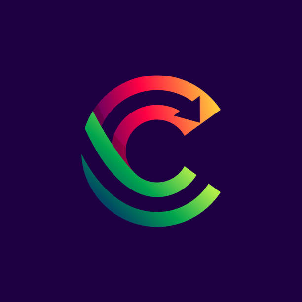 Letter C logo with arrow inside. Vector bright colours typeface for delivery labels, business headlines, finance posters, sport cards etc. letter c stock illustrations