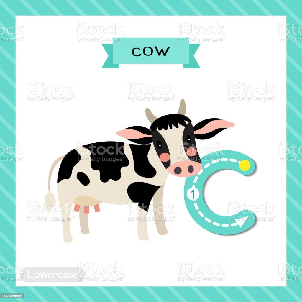 Buchstabe C Kleinbuchstaben Ablaufverfolgung Glücklich Holstein Kuh ...