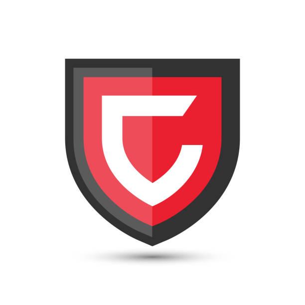 buchstabe c schützen shield logo symbol vorlage. vektor-emblem. abstrakten symbol für sicherheit. - schutzschild stock-grafiken, -clipart, -cartoons und -symbole