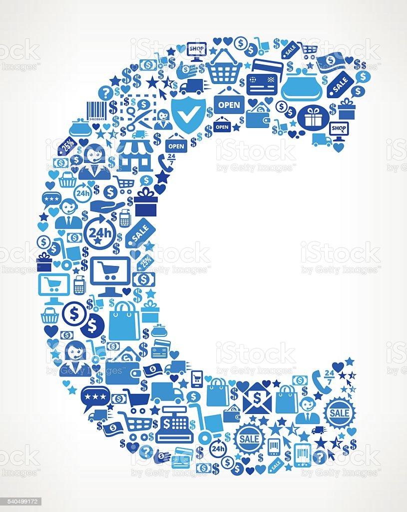 ilustraci243n de letra do icono azul de compras y comercio