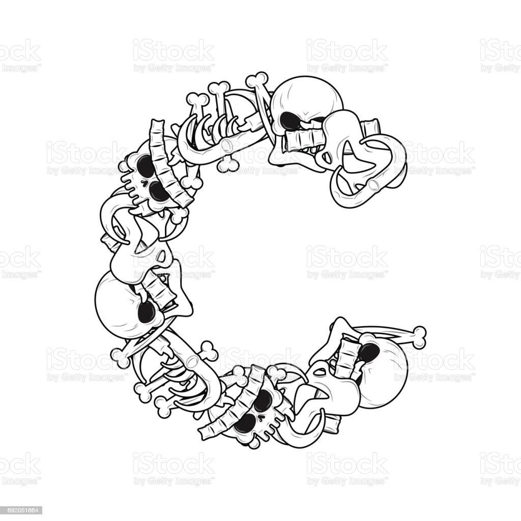 Ilustración de Esqueleto Huesos Fuente De Letra C Anatomía De Un ...