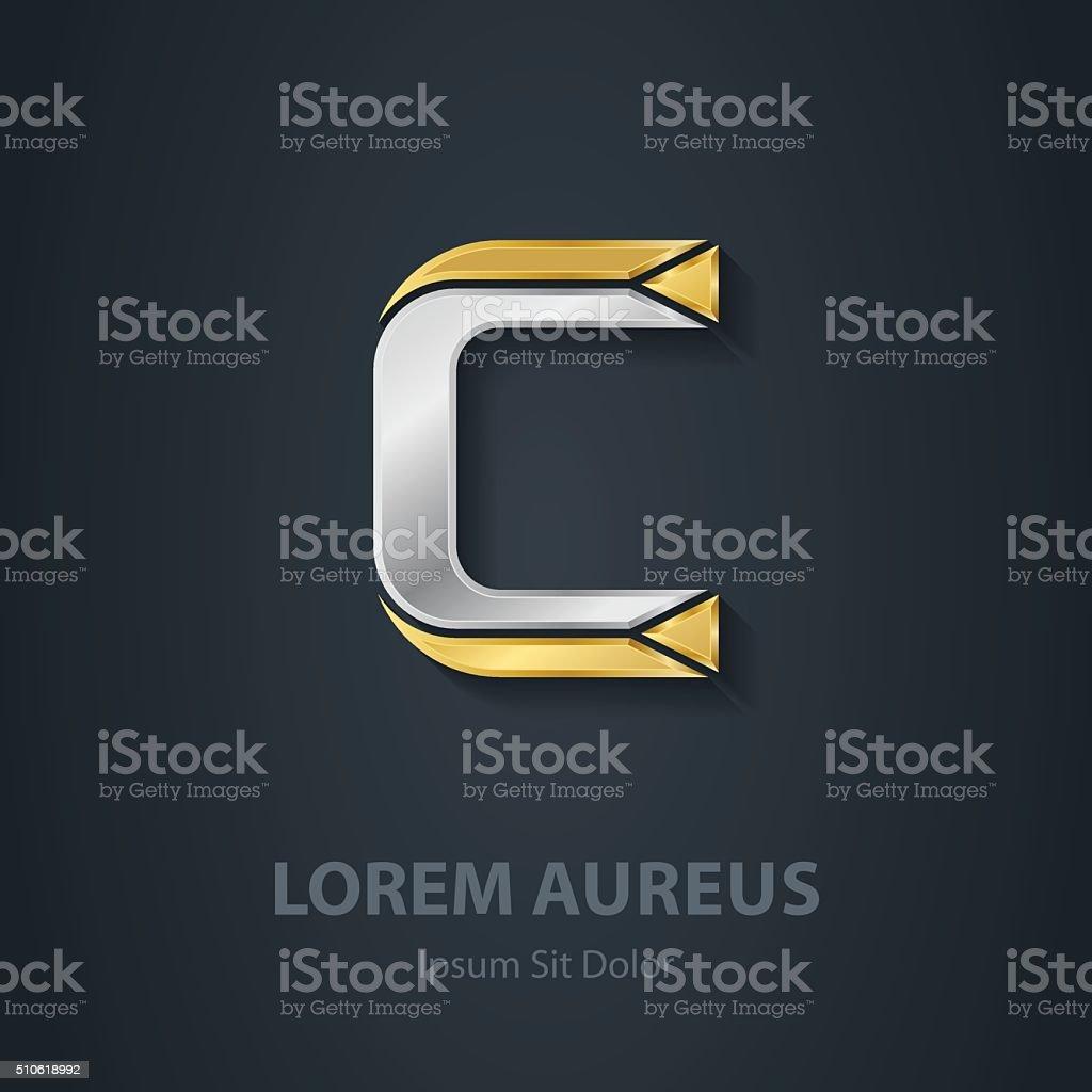 32e1d51dac Letra C Modelo de logotipo da empresa. 3 d Projeto elemento letra c modelo  de