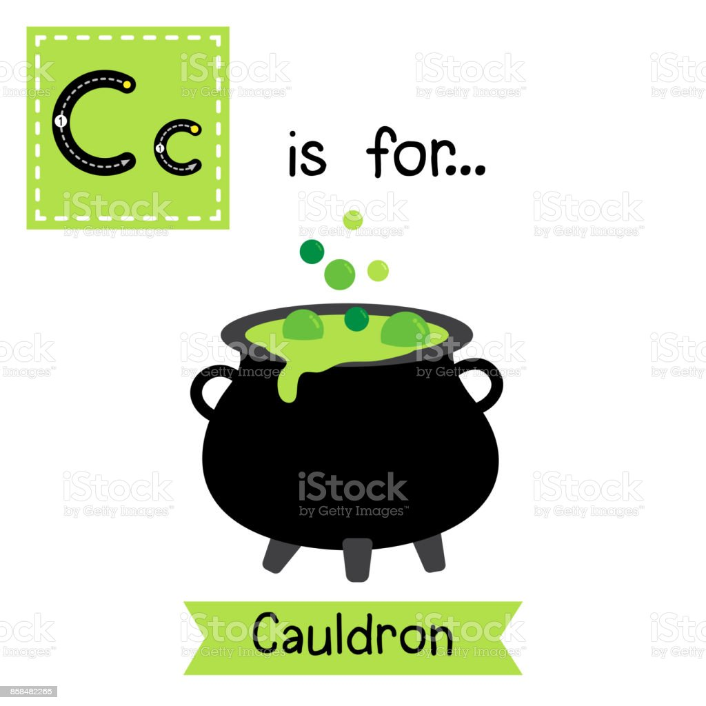 Letter C tracing. Cauldron vector art illustration