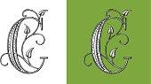 Letter C, Typo, Alphabet, Enluminure, Ornement,  Manuscrite,monogram, Rétro, Floral