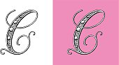 Letter C, Typo, Alphabet, Enluminure, Ornement,  Manuscrite,monogram, Rétro, Bijoux