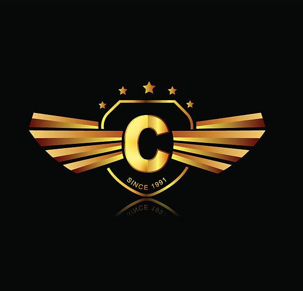 Royalty Free Golden Font Letter C Clip Art Vector Images