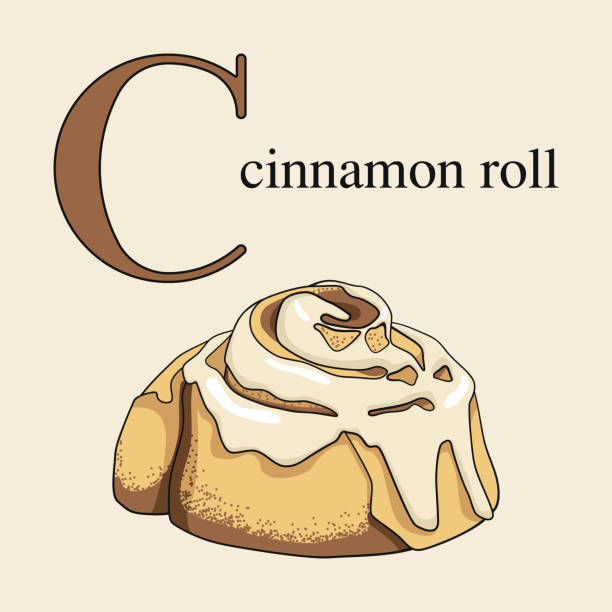 letter c with cinnamon roll. illustrated english alphabet with sweets. - cinnamon roll stock illustrations, clip art, cartoons, & icons
