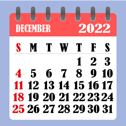 Calendar For December 2022.Letter Calendar For December 2022 The Week Begins On Sunday Time Planning And Schedule Concept Flat Design Removable Calendar For The Month Vector Stock Illustration Download Image Now Istock