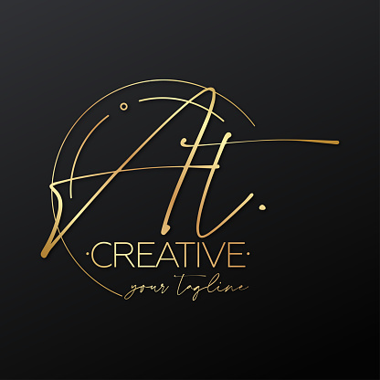AT letter calligraphy minimal emblem style vector logo. Gold color and black background. Gold, metallic, luxury, elegance.