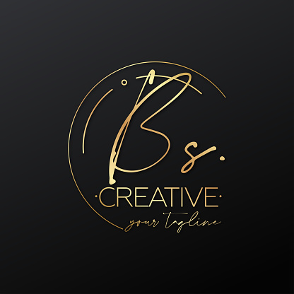 BS letter calligraphy minimal emblem style vector logo. Gold color and black background.