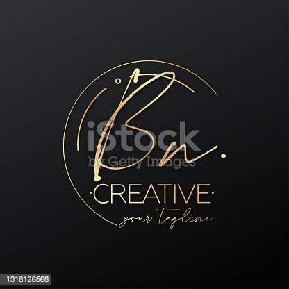 istock BN letter calligraphy minimal emblem style vector logo. Gold color and black background. 1318126568