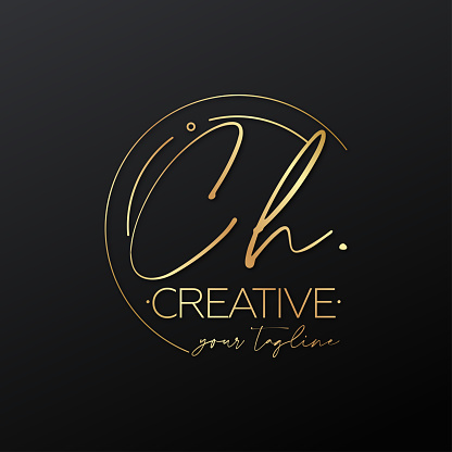 CH letter calligraphy minimal emblem style vector logo. Gold color and black background.