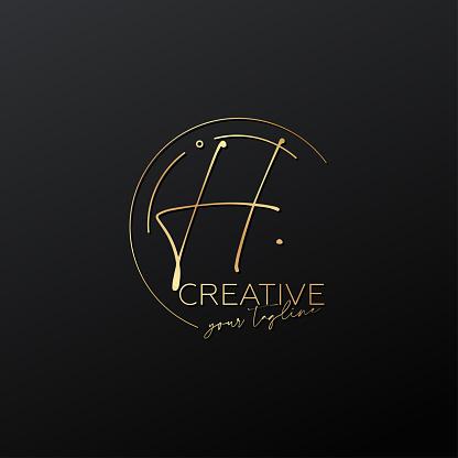 H letter calligraphy minimal monogram emblem style vector logo. Gold color and black background.
