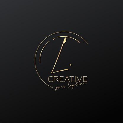 L letter calligraphy minimal monogram emblem style vector logo. Gold color and black background.