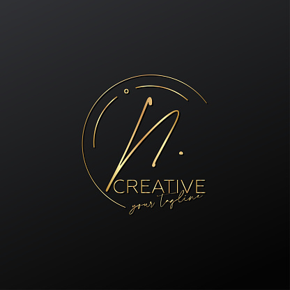 N letter calligraphy minimal monogram emblem style vector logo. Gold color and black background.