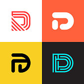 D letter   collection vector design. Set of simple company   icons.