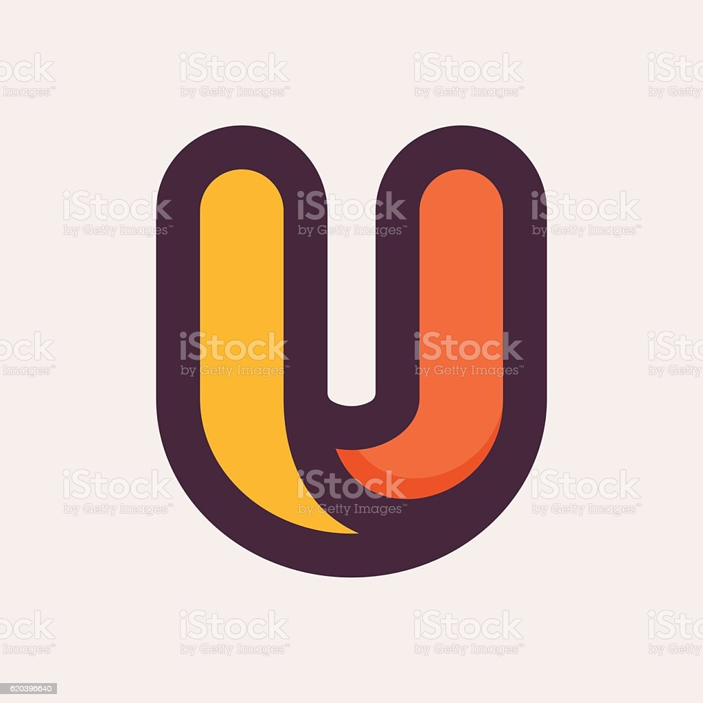 U letter colorful icon. Flat style design. vector art illustration