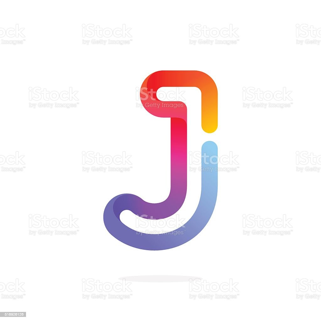 J letter colorful icon. vector art illustration