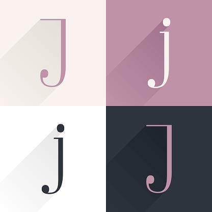 J letter condensed serif font set.