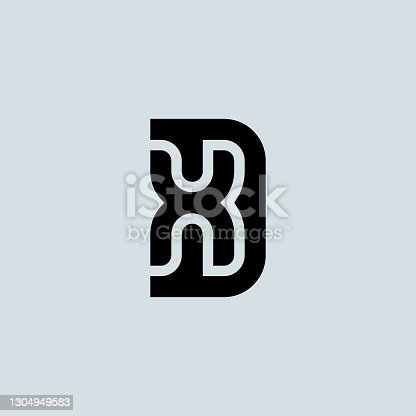 istock Letter D and X logo design. Minimalistic monogram symbol. XD - Premium business logotype. DX - Elegant universal vector sign. Graphic symbol for corporate identity. 1304949583