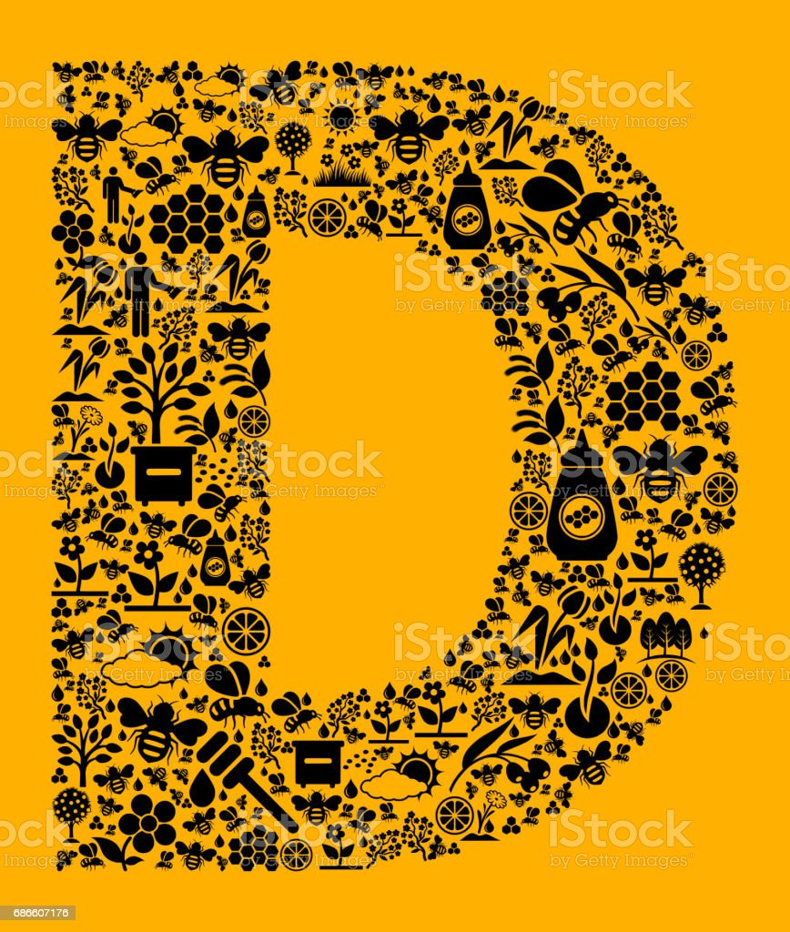 Letter D Bee and Honey Vector Icons Background royalty-free letter d bee and honey vector icons background stock vector art & more images of agriculture