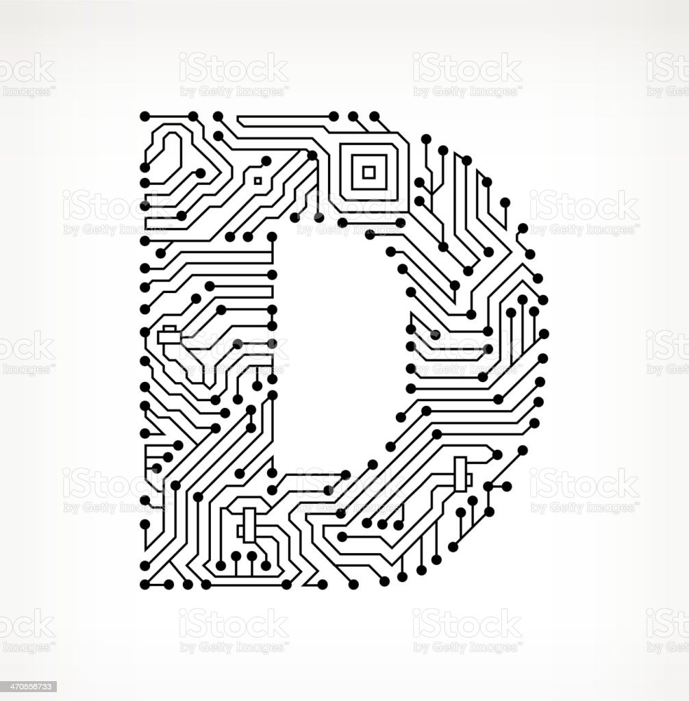 letter d circuit board on white background stock vector art  u0026 more images of alphabet 470556733