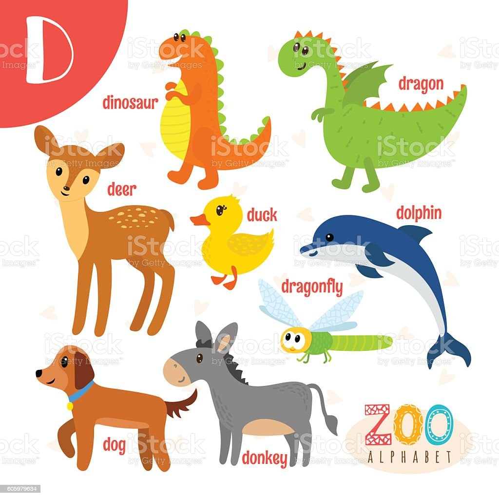 letter d cute animals funny cartoon animals in vector stock vector
