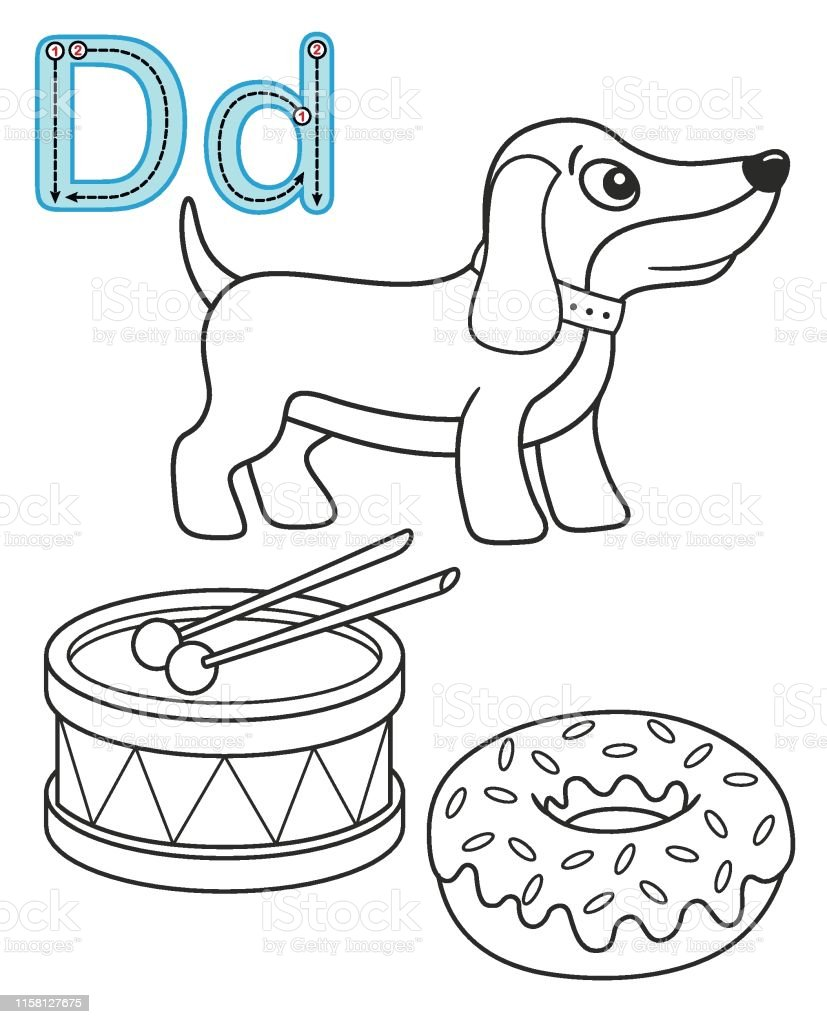 image relating to Letter D Printable named Letter D Pet Drum Donut Vector Coloring E book Alphabet