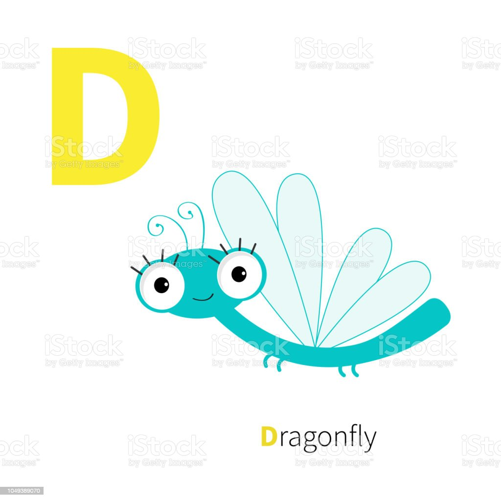 Letter D Dragonfly. Zoo alphabet. Insect. English abc with animals...