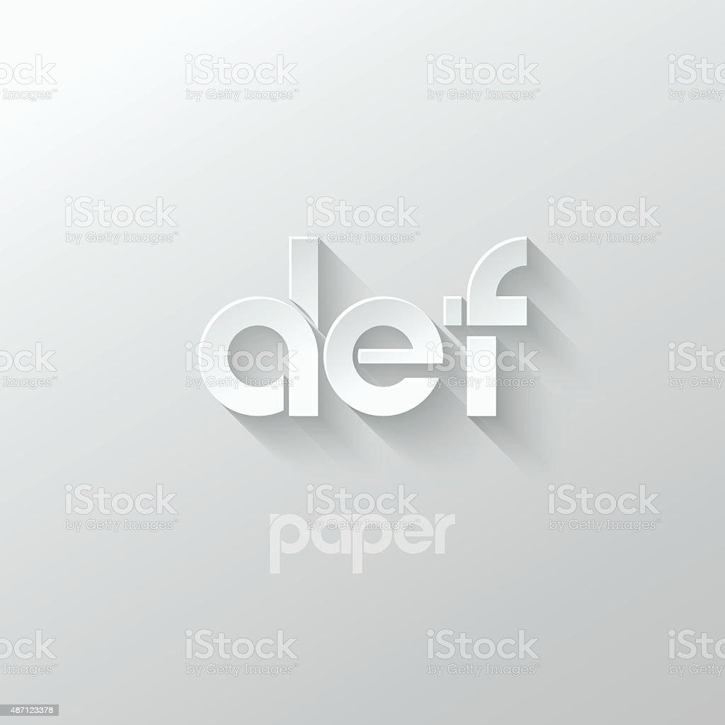 letter D E F logo alphabet icon paper set background vector art illustration