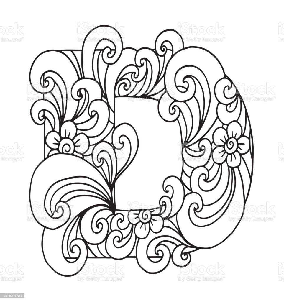 Letter D For Coloring Vector Decorative Object Illustration Computer