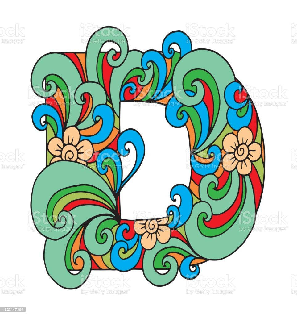 Letter D For Coloring Vector Decorative Object Illustration Computer ...