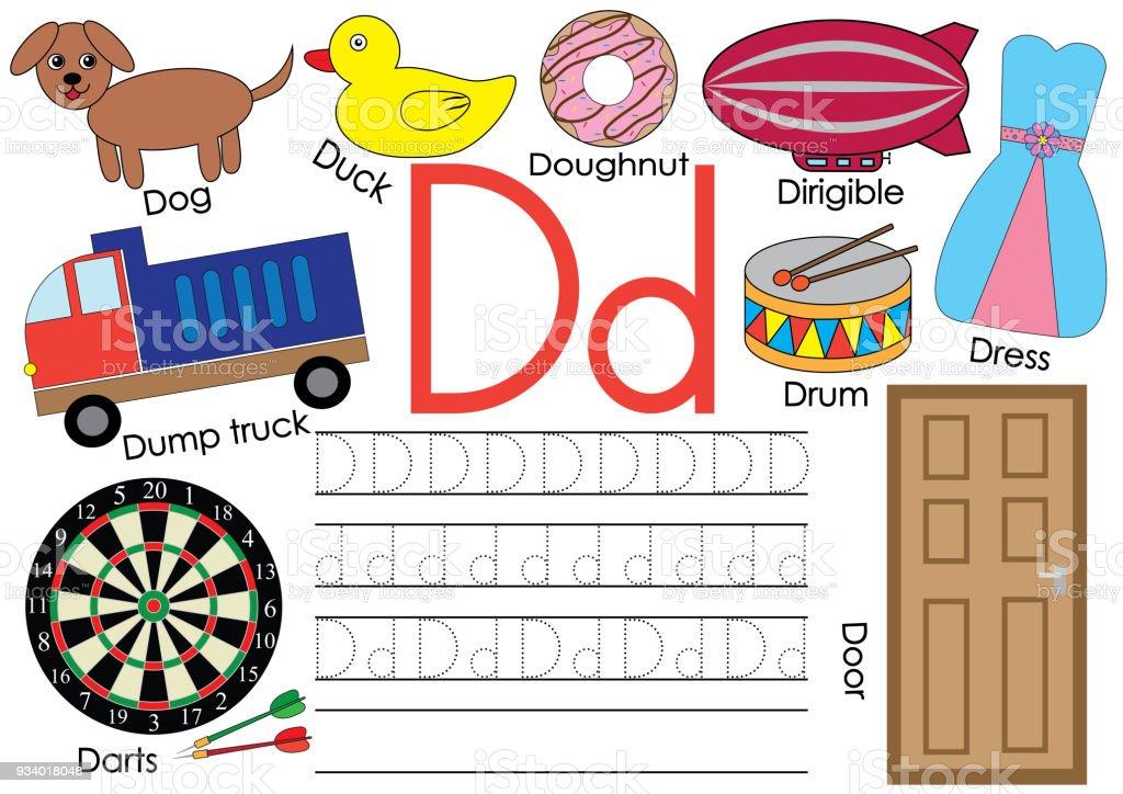 Ilustración de Letra D Alfabeto Inglés De Aprendizaje Y Práctica De ...