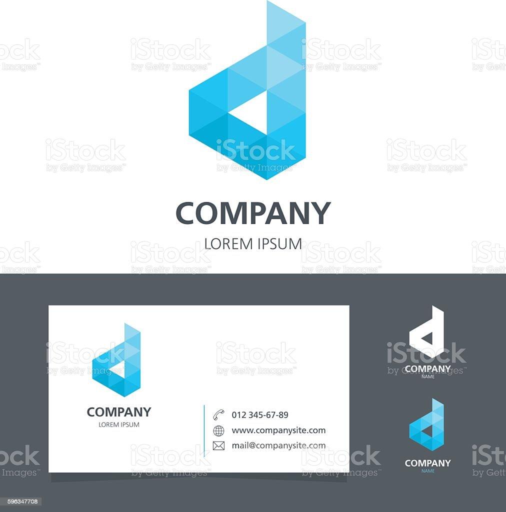Letter D - Logo Design Element with Business Card - illustration Lizenzfreies letter d logo design element with business card illustration stock vektor art und mehr bilder von abstrakt