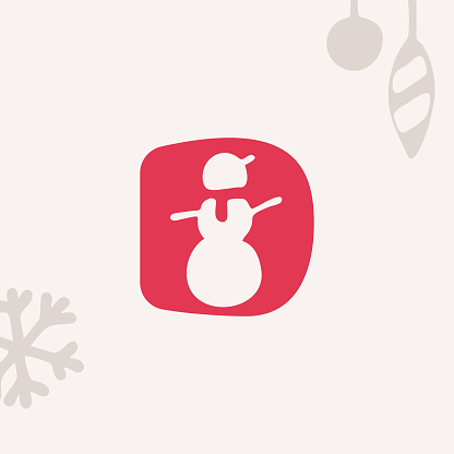 Letter D logo with a snowman for Christmas and 2022 New Year design.