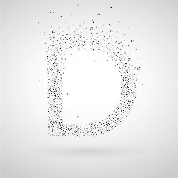 Letter D made from flying musical notes. vector art illustration