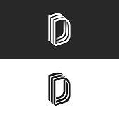 Letter D  monogram isometric lines geometric shape, creative idea perspective outline DDD initials symbols, modern typography design element template.