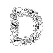 Letter D skeleton Bones Font. Anatomy of an alphabet symbol. dead ABC sign