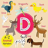 Letter D tracing. Deer. Dodo. Dog. Donkey. Dove. Dragonfly. Duck.