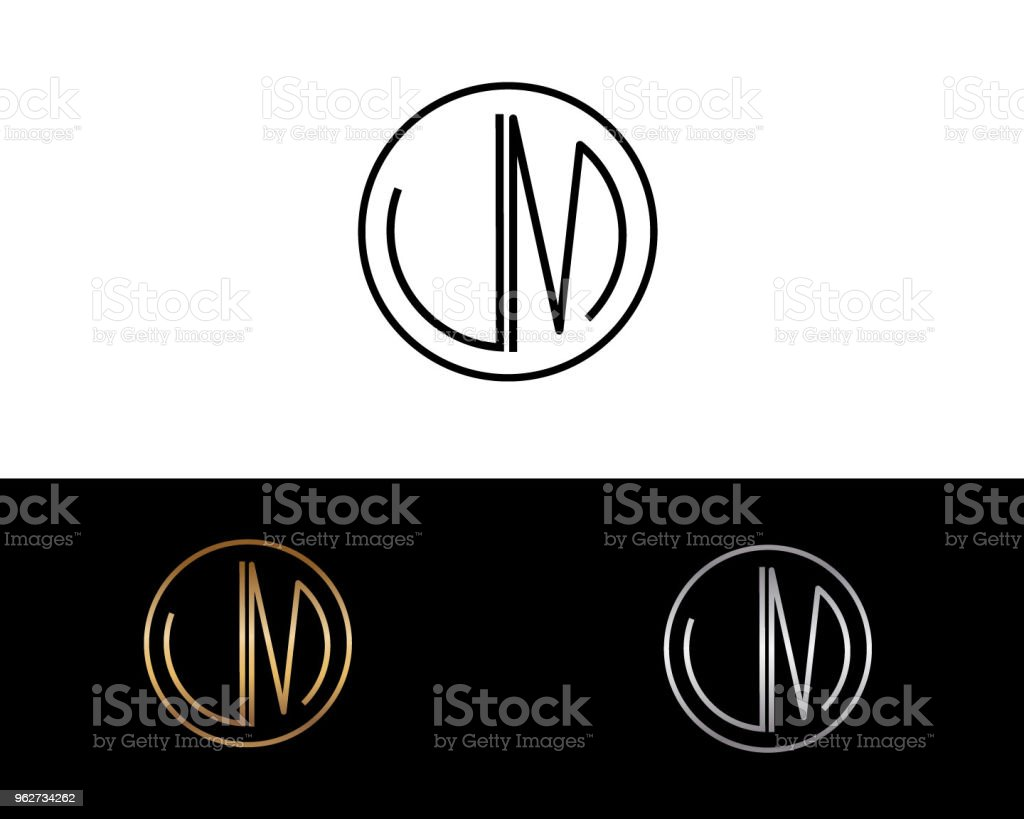 um letter design vector with black gold silver colors stock vector