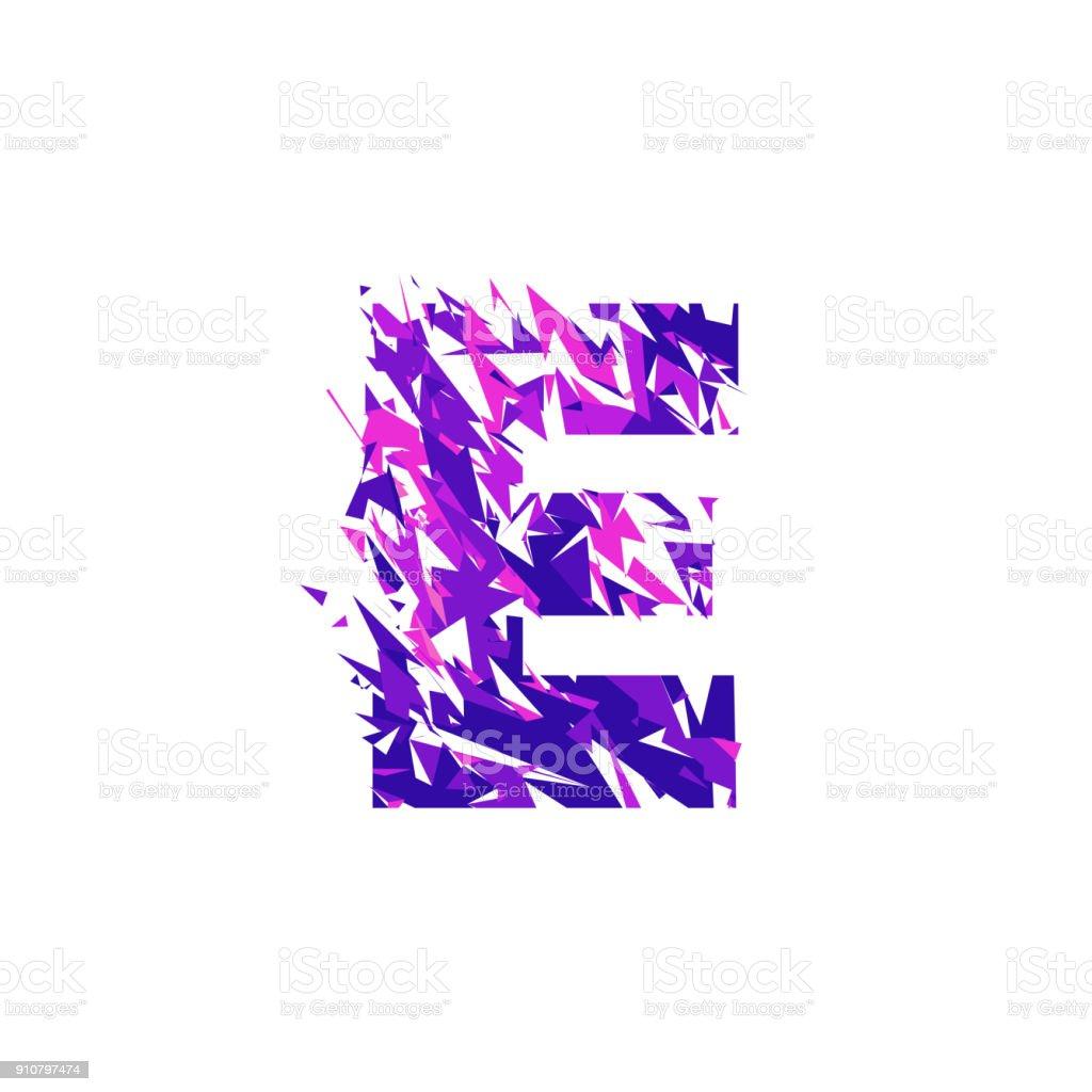 Letter E, broken into a splinters. vector art illustration