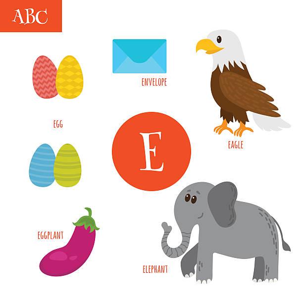 illustrations, cliparts, dessins animés et icônes de letter e. cartoon alphabet for children - enseignant(e) en maternelle