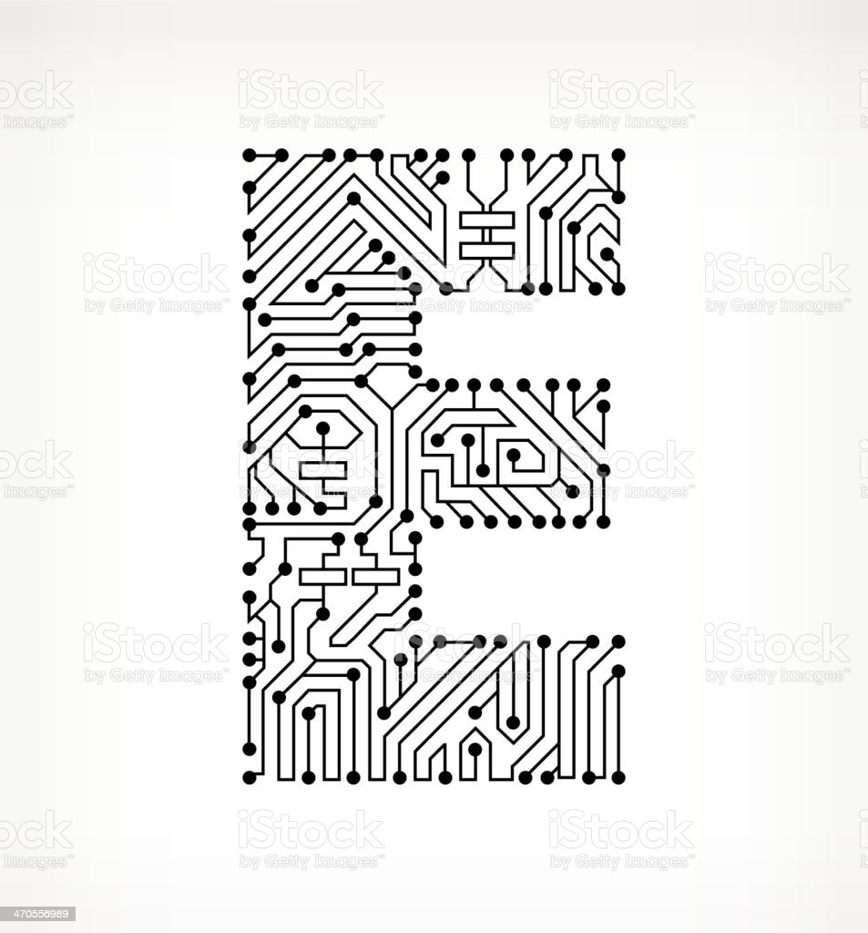 letter e circuit board on white background stock vector