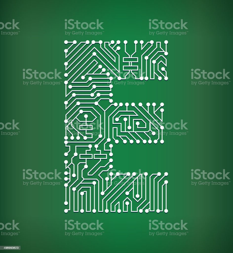 Circuit Board Letters Form Numbers Vector Letter Sign Wiring Diagrams E Diagram