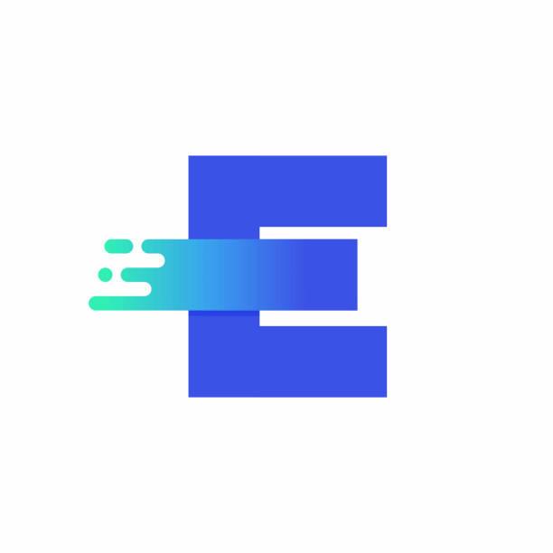 Letter E Design Vector In Blue Green Gradient vector art illustration