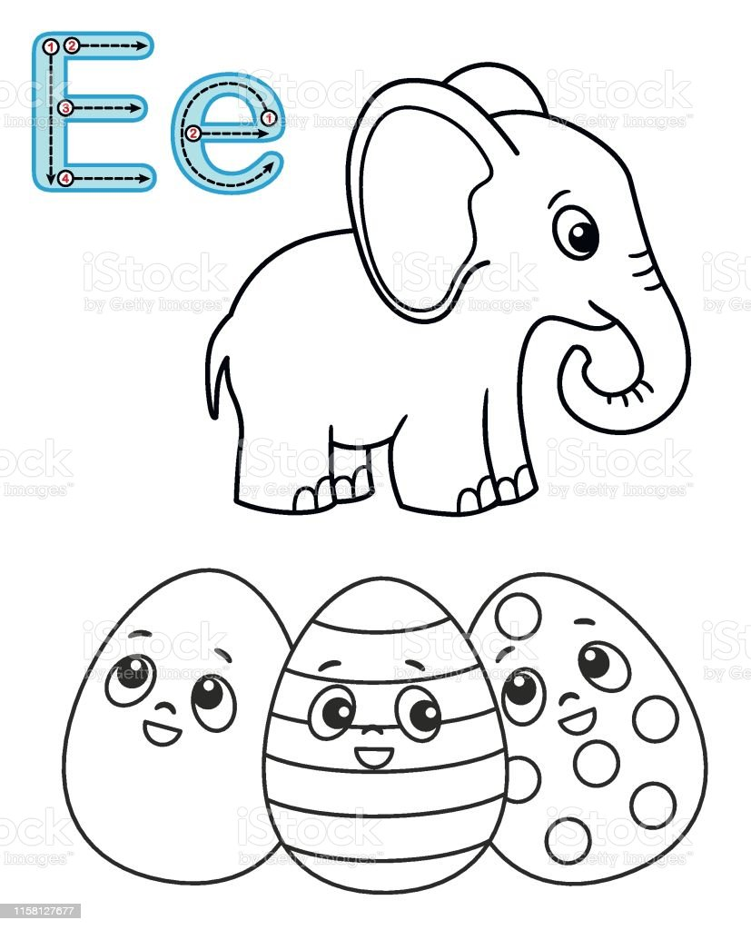 graphic regarding Letter E Printable called Letter E Elephant Easter Egg Vector Coloring E-book Alphabet