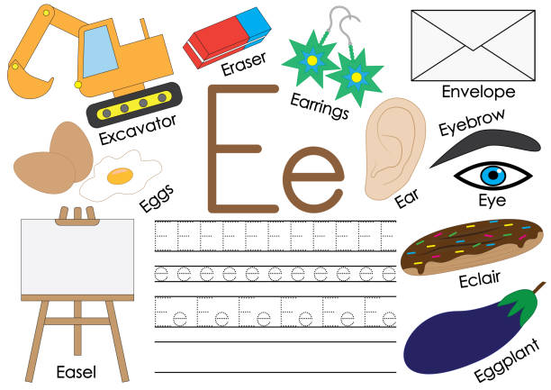 illustrations, cliparts, dessins animés et icônes de alphabet anglais lettre e.. relier les points. jeu éducatif pour les enfants. - enseignant(e) en maternelle