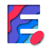 Letter 'E' filled with realistic multicolor paper cut layers for greeting cards, posters, invitations, brochures